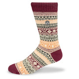 Sky Outfitters Vintage Winter Wool Crew Socks - Maroon - Profile