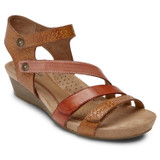Rockport Cobb Hill Women's Hollywood 4-Strap Sandal - Tan Multi - C10238 - Angle