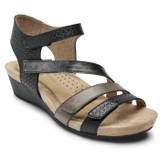 Rockport Cobb Hill Women's Hollywood 4-Strap Sandal - Black - C10239 - Angle