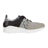 NAOT Women's Apollo Buzz - Light Gray Nubuck/Gray Cobra Leather/Silver Mirror Leather/Soft Black Leather - Profile