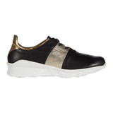 NAOT Women's Apollo Buzz - Soft Black Leather / Radiant Gold Leather / Soft Black Leather / Gold Leather - 18019-NPJ - Profile