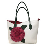 Sondra Roberts Tote with Rose Detail - White / Red