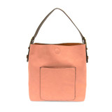 Joy Susan Classic Hobo Handbag - Blush / Coffee - Profile