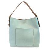 Joy Susan Classic Hobo Handbag - Blue Hydrangea / Coffee - Profile