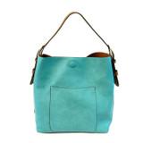 Joy Susan Classic Hobo Handbag - Turquoise / Coffee - Profile