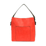 Joy Susan Classic Hobo Handbag - Coral / Coffee - Profile
