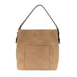 Joy Susan Faux Linen Hobo Handbag - Taupe / Coffee - Profile