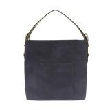 Joy Susan Faux Linen Hobo Handbag - Navy / Coffee - Profile