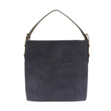 Joy Susan Faux Linen Hobo Handbag - Navy / Coffee - Profile