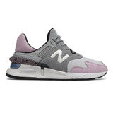 New Balance Women's 997 Sport - Steel with Oxygen Pink - WS997JNC - Profile