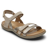 Rockport Cobb Hill Women's Rubey 3-Strap Sandal - Taupe - CI0172 - Angle