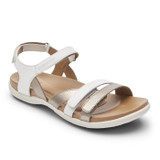 Rockport Cobb Hill Women's Rubey 3-Strap Sandal - White - CI0447 - Angle