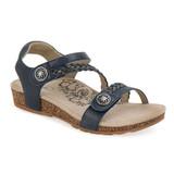 Aetrex Women's Jillian Braided Quarter Strap - Navy Leather - SC461W - Main