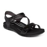 Aetrex Women's Jess Adjustable Quarter Strap Sandal - Black - SE210W - Angle