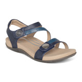 Aetrex Women's Jess Adjustable Quarter Strap Sandal - Navy - SE215W - Angle
