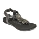 Aetrex Women's Portia Fringe Sandal - Black - SE391W - Angle
