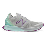 New Balance Women's Fuel Cell Echo - Light Aluminum with Bali Blue & Lemon Slush - Profile Pic