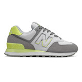 New Balance 574 Split Sail Women's Classics - Gray with Lemon Slush - Profile
