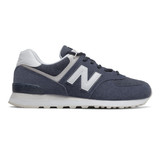 New Balance Men's 574 Men's Classics - Navy with White - Profile