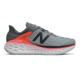 New Balance Men's Fresh Foam More V2 - Gunmetal with Neo Flame & Black - Profile Pic