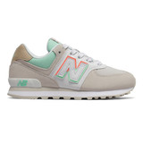New Balance Grade School 574 Split Sail - Moonbeam with Neo Mint - Profile