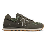 New Balance Mens 574 - Black Olive/ Moon Beam - Profile Pic
