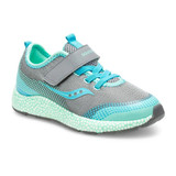Saucony Little Kid's Astrofoam Sneaker - Grey / Turquoise - Angle