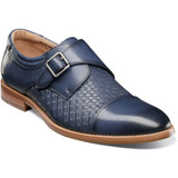 Stacy Adams Men's Fenwick Cap Toe Monk Strap - Blue - Angle