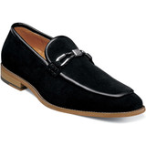 Stacy Adams Men's Colbin Moc Toe Ornament Strap Slip On - Black Suede - Angle