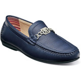 Stacy Adams Men's Cygnet Moc Toe Bit Slip On - Navy - Angle