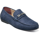Stacy Adams Men's Clem Moc Toe Bit Slip On - Navy - Angle
