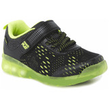 Stride Rite Made2play® Lighted Neo Sneaker - Black / Neon Green - Angle