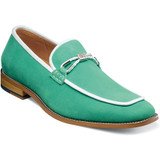 Stacy Adams Men's Colbin Moc Toe Ornament Strap Slip On - Aqua Green - Angle