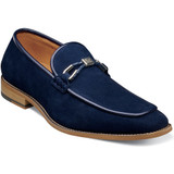 Stacy Adams Men's Colbin Moc Toe Ornament Strap Slip On - Navy Suede - Angle
