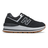 New Balance Women's 574 Classics - Black with White - Profile