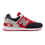 New Balance Women's 574 Classics - Red with Navy - Profile