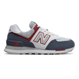 New Balance Women's 574 Classics - Navy with Red - Profile