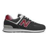 New Balance Men's 574 Classics - Black with NB Scarlet - ML574SSL - Profile