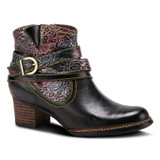 Spring Step Women's Shazzam-Rose Bootie - Black Multi - SHAZZAM-ROSE-BM - Angle