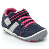 Stride Rite SRTech Soft Motion Artie Shoe - Navy with Pink - BG57835 - Angle