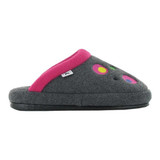 Naot Women's Repose Slipper - Grey with Pink Circles - Profile
