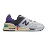 New Balance Men's 997 Sport - Munsell White with Deep Blue - MS997JEA - Profile