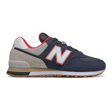 New Balance Men's 574 Classics - NB Navy with Energy Red - ML574SKB - Profile