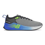 New Balance Kid's Fresh Foam Fast v2 - Steel with Black and Cobalt Blue - YKFSTLS2 - Profile
