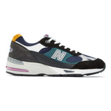 New Balance Men's Made in England 991 - Black with Blue - M991MM - Profile