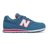 New Balance Grade School 574 - Blue with Red - Profile