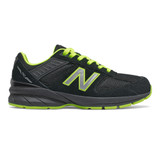 New Balance Grade School 990v5 - Black and Atomic Yellow - Profile