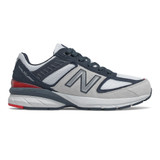 New Balance Grade School 990v5 - White with Carbon - Profile