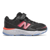 New Balance Infant's Bungee Lace 680v6 - Black with Tahitian Pink and Team Carolina - Profile