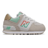 New Balance Infant 574 Split Sail - Moonbeam with Neo Mint - Profile